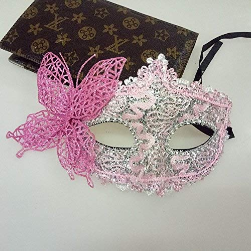 Fashion Sexy Butterfly Ball Mask for Girls Women Masquerade Dancing Party Mask Beautiful Half Face Mask (Color : Pink) ()