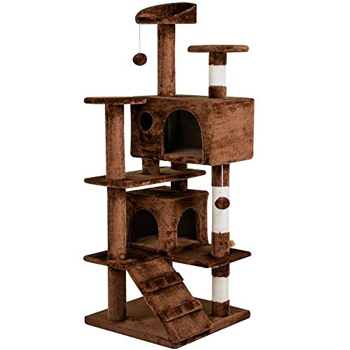 go2buy 53.5 Inches Cat Tree Furniture for Kittens Beige/Brown/Gray/Navy Blue by go2buy