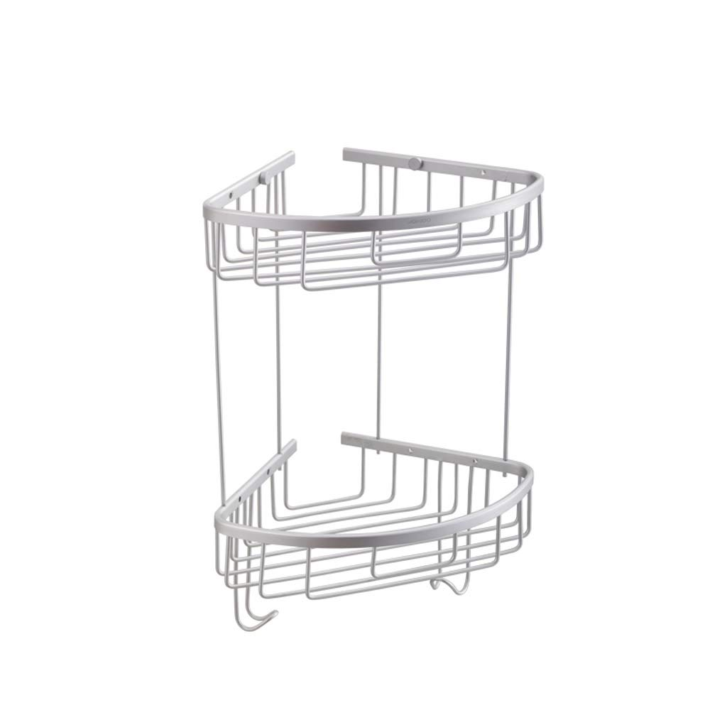 GAOYANG Bathroom Shower Ball Rack, Shower Corner Triangular Wall Mount Shelf Basket, for Shampoo, Soap Bathroom Accessories, with Two Hooks, Aluminum Alloy Stainless Steel (Size: 3041cm)