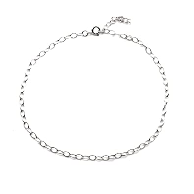 Silverly Women's .925 Sterling Silver Oval Rolo Link Chain Anklet Ankle Bracelet, 23 + 3cm Extender