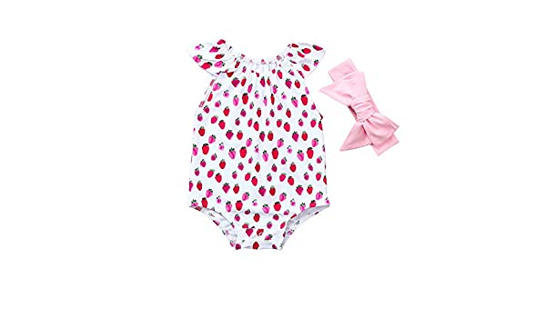 3d0cc804284b Amazon.com  ❤ Mealeaf ❤ Newborn Baby Girl Ruffles Romper Fruits Print  Headband Jumpsuit Outfit Clothes 6-24 Months  Clothing
