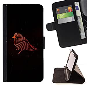 For HTC One M8 Firebird Red Robin Black Minimalist Beautiful Print Wallet Leather Case Cover With Credit Card Slots And Stand Function