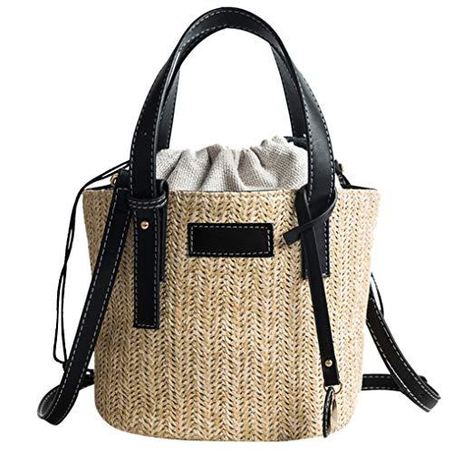 - Round Straw Beach Bag Vintage Handmade Woven Shoulder Bag Raffia circle Rattan bags Bohemian Summer