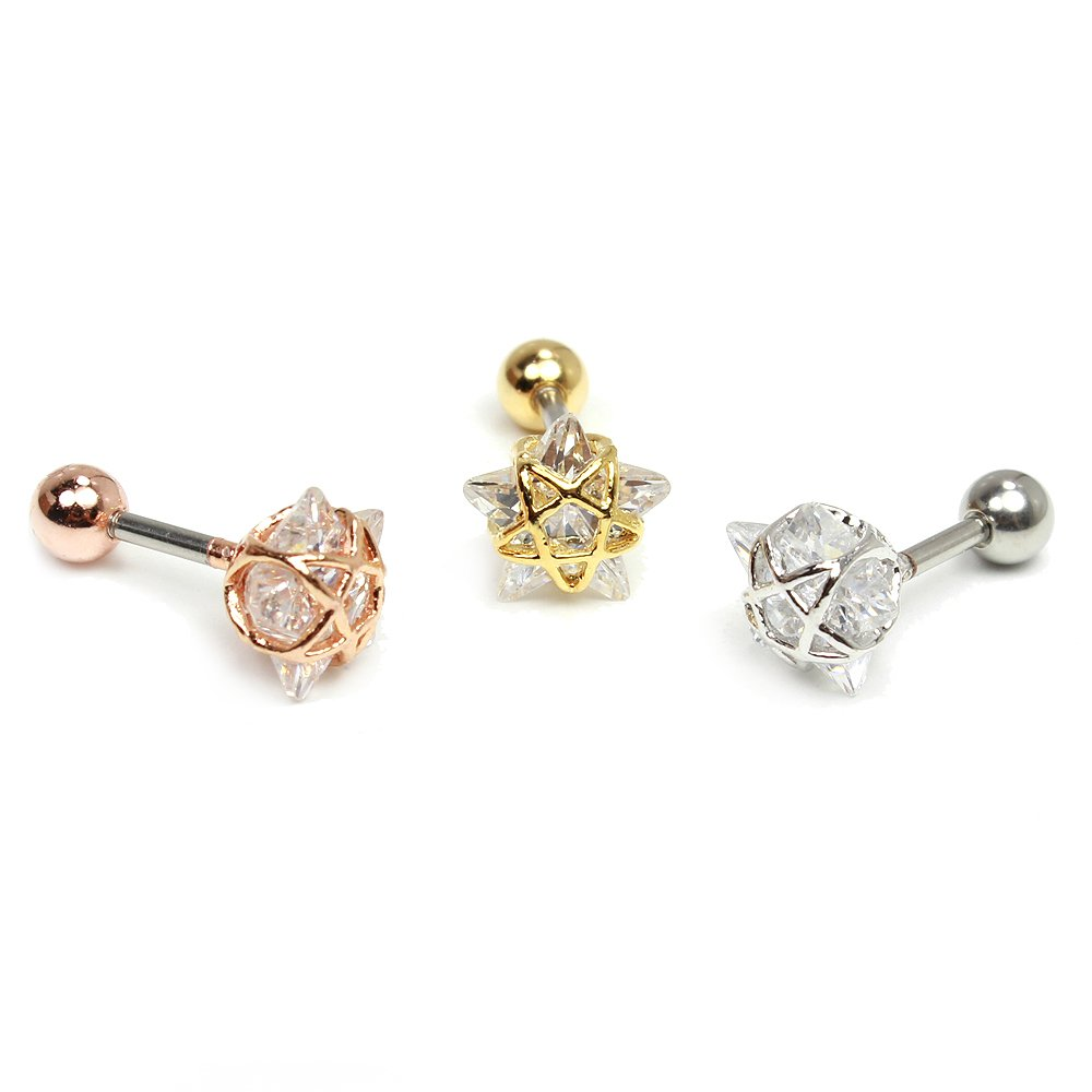 16g 1/4'' Star cartilage earring, conch helix ear studs piercing jewelry, Sold as piece (Silver)