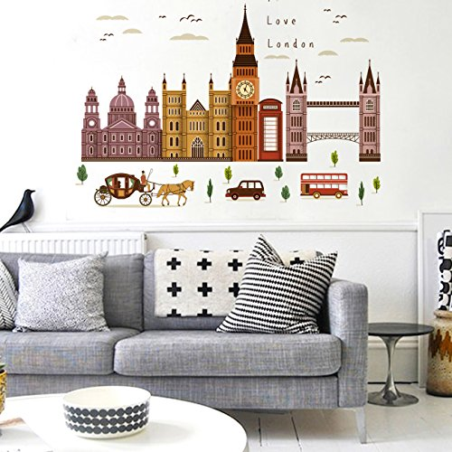 Home Decoration Wall Stickers Wall sticker building series living room bedroom removable waterproof stickerWall Sticker Decals Home Wall DIY Decors Self-adhesive wall art sticker bedroom, house.