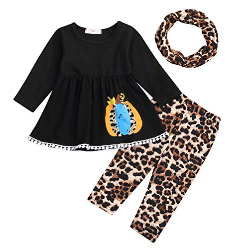 Halloween Kids Toddler Baby Girls Fall Outfit Ruffled Pumpkin Dress Shirt+ Leopard Print Pants Winter Clothes Set (Pants Set, 18-24 Months) (Toddler Leopard Leggings)