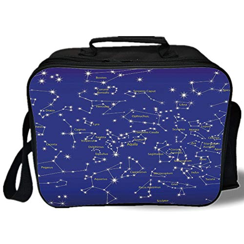 Pearl Toronto Blue (Insulated Lunch Bag,Constellation,Astronomy Science Names of Stars Zodiac Signs Night Sky,Violet Blue White Light Yellow,for Work/School/Picnic, Grey)