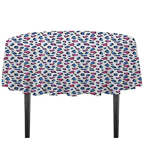 - kangkaishi Camouflage Washable Tablecloth Exotic African Safari Animal Skin Pattern in Watercolors Leopard Jaguar Desktop Protection pad D51.18 Inch Blue Pink and Black