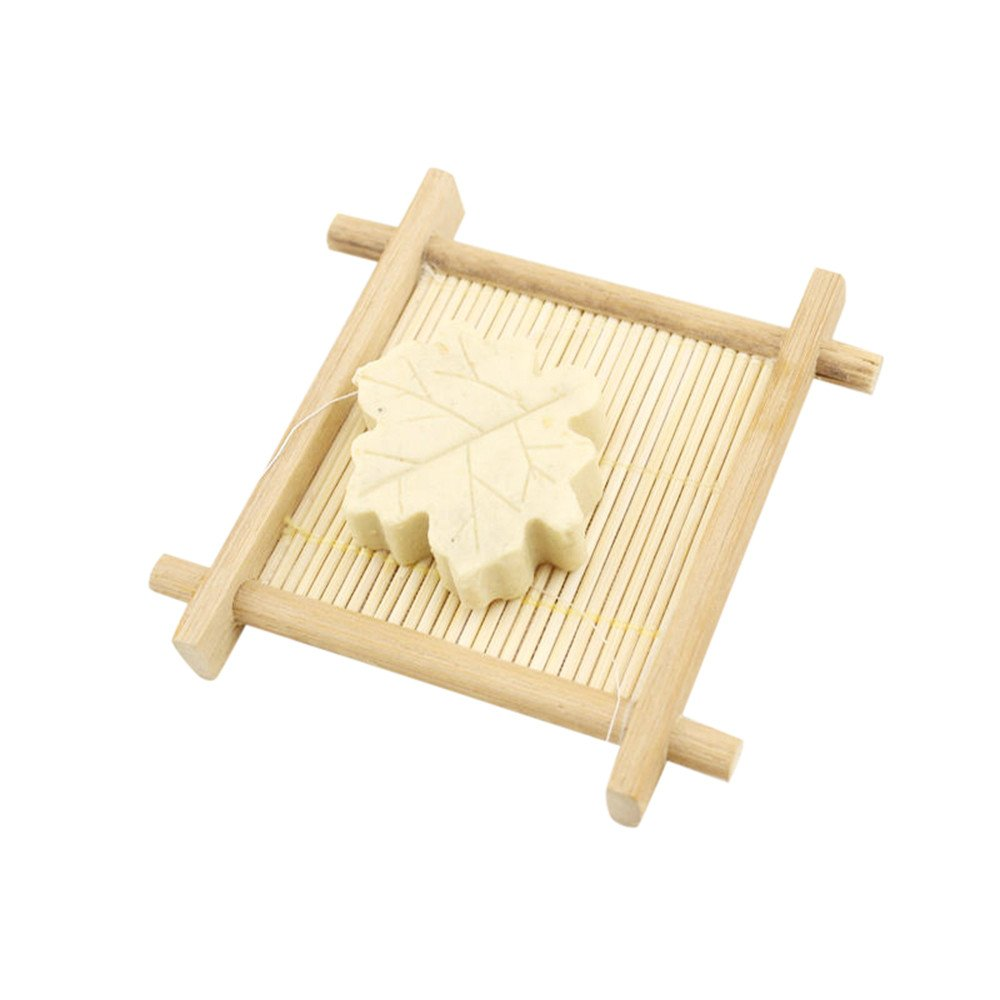 ♚Rendodon♚ Bathroom Storage, Storage Tools, Natural Bamboo and Wood Bathroom Shower soap Tray soap Box, Natural Bamboo Wood Bathroom Shower Soap Tray Dish Storage Holder Plat (Yellow)
