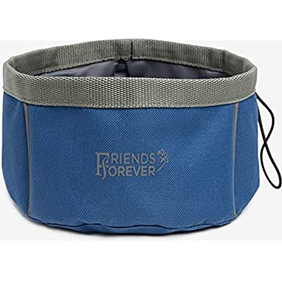 COLLAPSIBLE DOG BOWL Foldable Expandable Bowl for Pet Dog Cat Food Water Portable Travel (Blue)