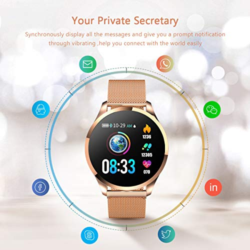 Smartwatch Mujer Hombre Impermeable Reloj Inteligente Monitores de Actividad Impermeable IP67 con Monitor de Sueño Pulsómetros Cuenta de Pasos Contador...