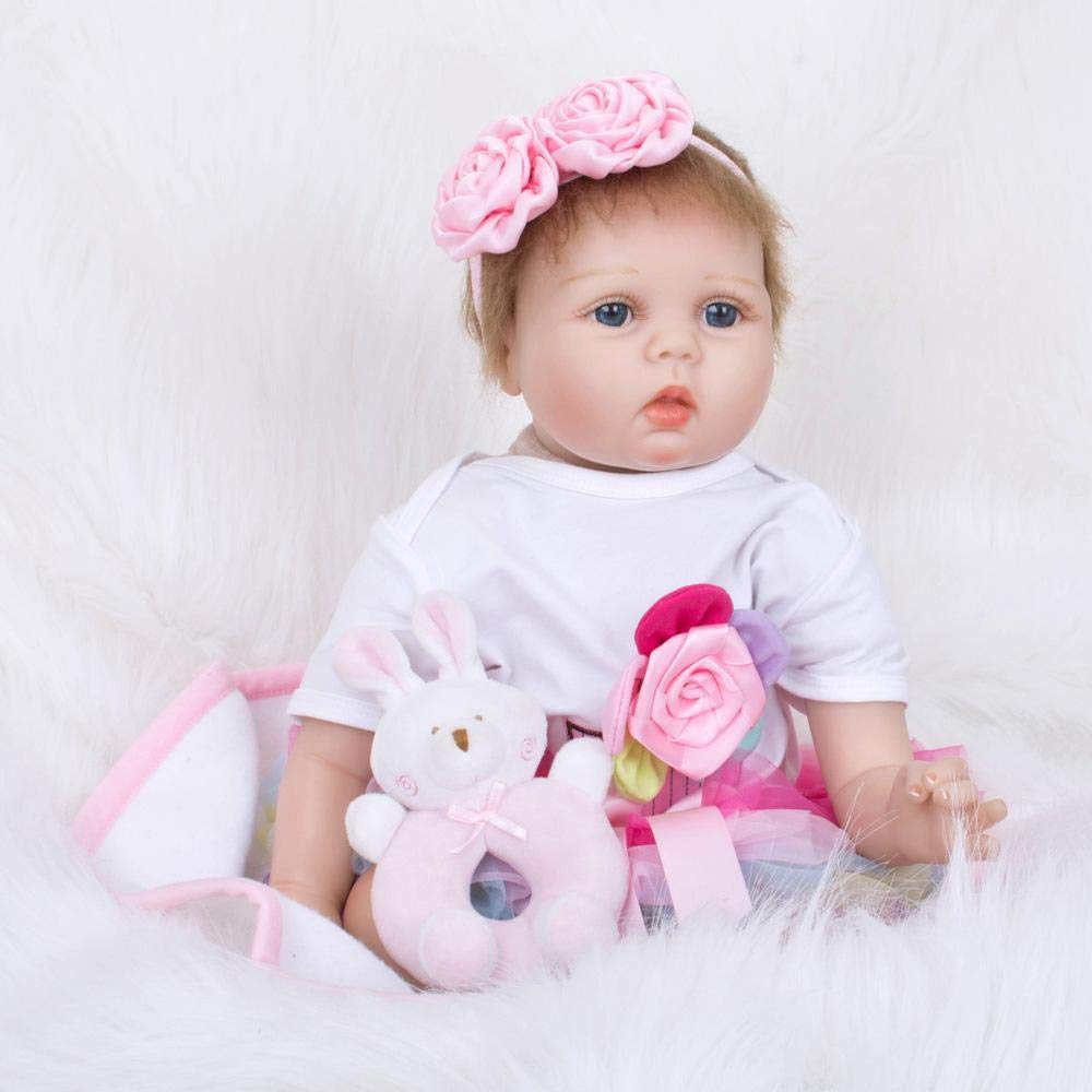 Hongge Reborn Baby Doll,Sieht Real Silikon Silikon Silikon Reborn Puppe Spielzeug lebensechtes Neugeborenes Baby Reborn Puppen Weihnachten Geburtstag 55cm ff9d5f