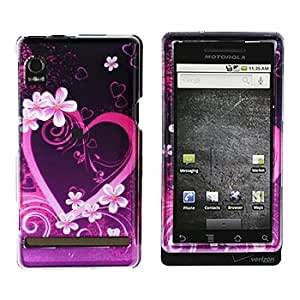 Premium - Motorola A855/Droid Purple Love Cover - Faceplate - Case - Snap On - Perfect Fit Guaranteed