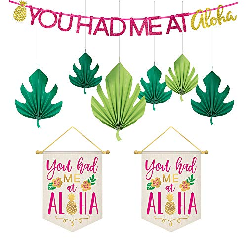 Party City Aloha Hawaiian Decorating Supplies, Include a Glitter Letter Banner, Hanging Aloha Signs, and Palm Leaf Fans -