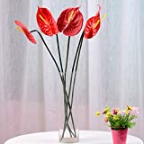 "24"" Real Touch artificial Anthurium Lily flowers for home decor (5 pcs) (Red)"