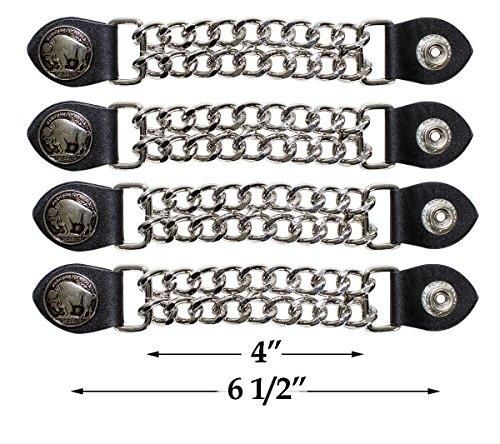 Dream Apparel 4 Pcs Per Set Buffalo Nickle Vest Extender Chrome Double Diamond Cut Chrome Chain