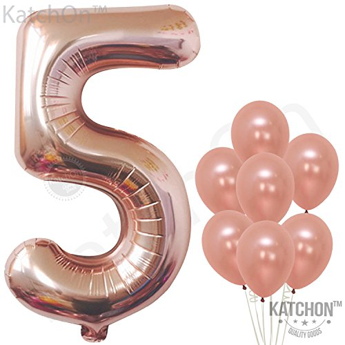 Rose Gold Number 5 balloon - foil mylar Rose Gold Balloons Party Decorations rose gold party supplies for Engagement birthday baby shower wedding 32 Foot Balloons String