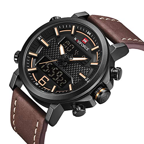 Mens Digital Analog Watches Waterproof Sport Leather Band Watch with Alarm Dual Dispaly Date Wristwatch for Man Gift ()