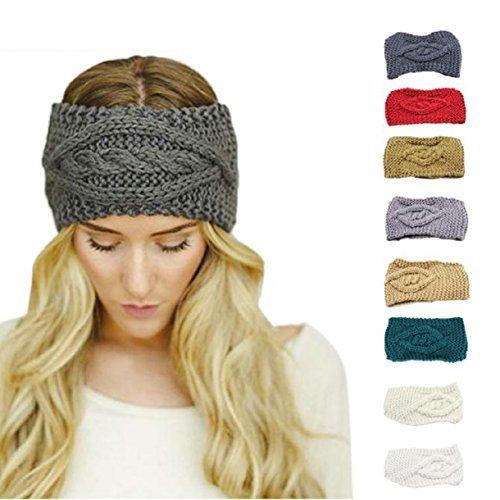 Lookatool Womens Warm Hat Skiing Cap Knitted Empty Skull Beanie Headband (Red)