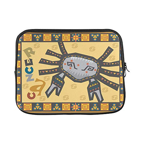 InterestPrint Stylized Zodiac Cancer Sign with Symbols On Tribal Ethnic Pattern Waterproof Neoprene 13 13.3 Inch MacBook Air/Pro Sleeve Case Bag for Dell HP Lenovo Thinkpad Acer Tablet Woman Man