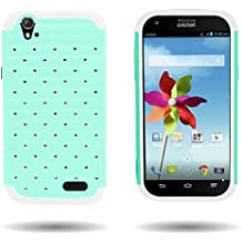 [ ZTE Grand X Z777 ] By CoverON Luxury Spot Diamond Dual Layer Armor Case for ZTE Grand X- Teal Hard White Soft Silicone