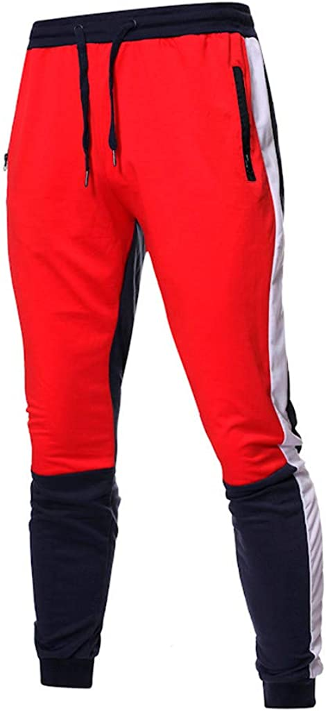 Mens Sweatpants Men/'s Casual Colorblock Drawstring Open Bottom Workout Running Jogger Pants Trouser with Pockets
