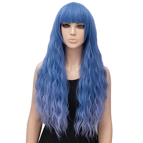 Netgo Women's Blue Mixed Purple Wig Long Fluffy Curly Wavy Hair Wigs for Girl Synthetic Party (Long Blue Wig Halloween)