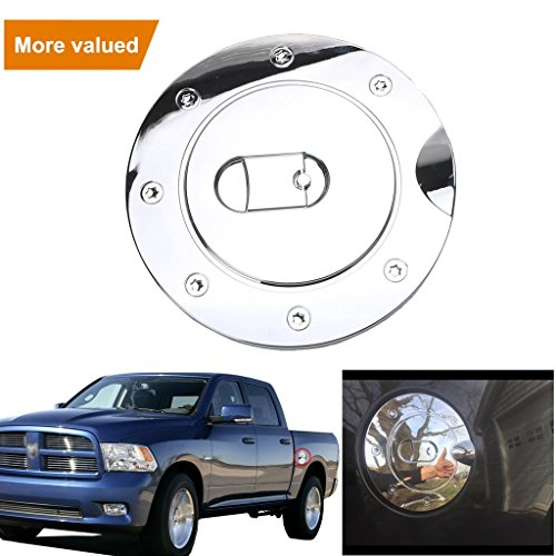Jade Triple Chrome Plated ABS Fuel Tank Gas Door Cap Cover For Dodge Ram 1500/2500/3500 2009-2017 (Chrome Plated Doors)