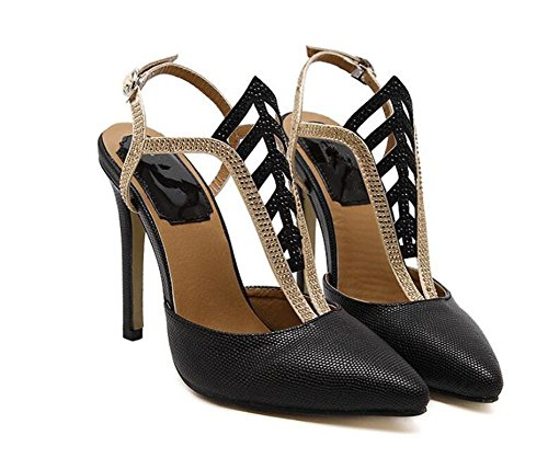 Femmes Court Chaussures Closed-orteils 11Cm Ultra haut talon caché plate-forme Party Shoes , black , 39
