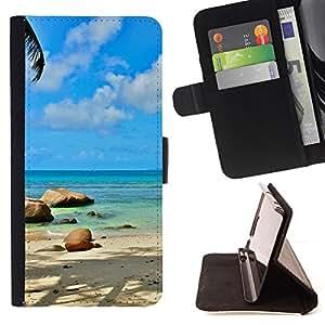 KingStore / Leather Etui en cuir / Sony Xperia Z3 D6603 / Paradise Island Beach