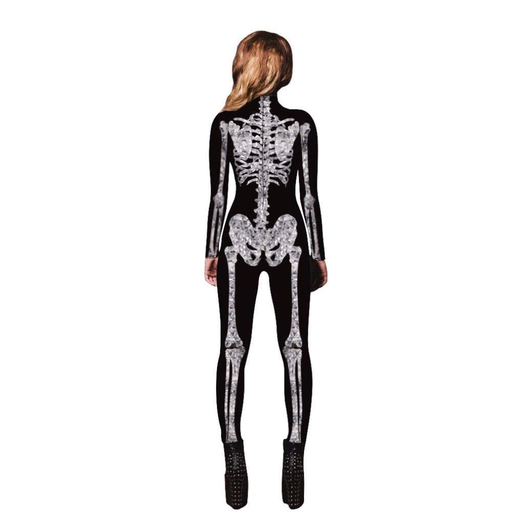 Halloween de BaZhai, Mujer Esqueleto de Las Mujeres Huesos de Pantalones Cosplay Bodycon Partido de Lujo Ropa de Juego del Mono Largo elástico Estampado con ...
