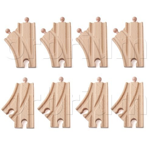 Orbrium Toys Short Curved Switch Tracks for Wooden Train Railway Fits Thomas Brio Chuggington Melissa Doug Imaginarium, Set of 8