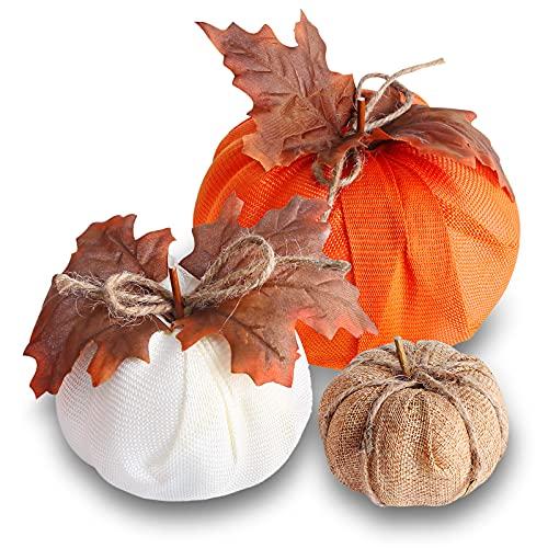 BigOtters Burlap Pumpkin, 3PCS Artificial Pumpkins Maple Leaf Pumpkins for Halloween Fall Garland Thanksgiving Table Decorations
