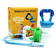 Baby Food Feeder, Silicone Pacifier Teething Toy - Maberry Mesh with Fresh Fruit Vegetable for Infants, Toddlers, and Kids - 2Pack (Blue&Green) (Blue / Green)