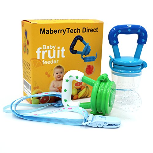 Baby Food Feeder, Silicone Pacifier Teething Toy - Maberry Mesh with Fresh Fruit Vegetable for Infants, Toddlers, and Kids - 2Pack (Blue&Green) (Blue / Green) from MaberryTech Direct