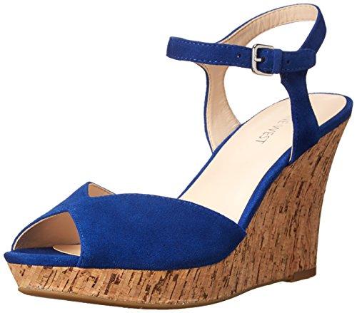 Nine West Women's Bigeasy Suede, Blue 8.5 M US (Nine West Peep Toe Wedge)