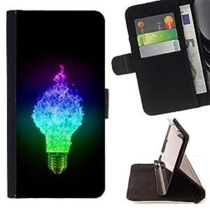 BullDog Case - FOR/Sony Xperia Z1 L39 / - / Cool Ligtbulb Colors Glow /- Monedero de cuero de la PU Llevar cubierta de la caja con el ID Credit Card Slots Flip funda de cuer