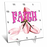 3dRose RinaPiro Kids - Faith. Pink ballet shoes. - 6x6 Desk Clock (dc_268796_1)