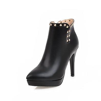 Women PU Mid Calf With Rivets Spiral Heels Thick Heels Boots