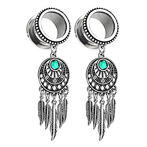 BodyJ4You Pair Surgical Steel Screw-Fit Tunnel Dreamcatcher Dangle Tribal Plugs 16mm (1/2 Inch) Gauges (Gem Dangle Gauge 16)