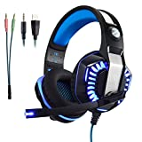 Micolindun Gaming Headset for PS4 Xbox One, Over Ear Gaming Headphones with Mic, Stereo Bass Surround, Noise Reduction, LED Lights and Volume Control for Laptop, PC, Mac, iPad, Computer, Smartphones