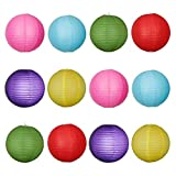 UEETEK 24pcs 6 Colors 8-inch Round Paper Lanterns with Wire Ribbing