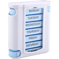 Delaman 7 Day Pill Organizer, 28 Grid Drawer Weekly Pill Box para Pastillas/Vitamina/Aceite de Pescado/Suplementos