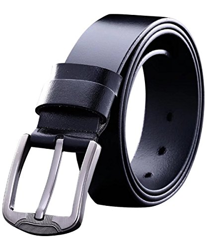 Leather Fancy Dress (Mens Dress Belt Prong Buckle Genuine Leather Smooth Durable Fancy Vintage Jeans Business Waist Belt)