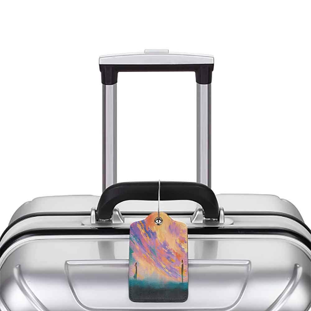 Modern luggage tag Colorful Man and Woman Standing Opposite of Each Other Artistic Watercolors Dramatic Sky Suitable for children and adults Multicolor W2.7 x L4.6