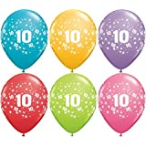 6 Luftballons Zahl 10 Geburtstag Farbig Sortiert Ca 28 Bis 30 Cm Deko 10  Geburtstag
