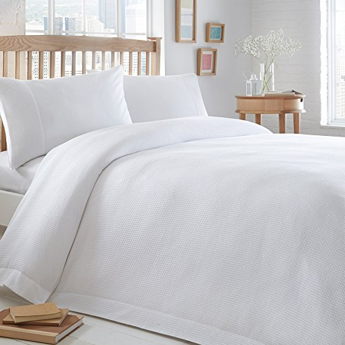 Merryfeel 100% Cotton Waffle Weave Duvet Cover Set - Queen White