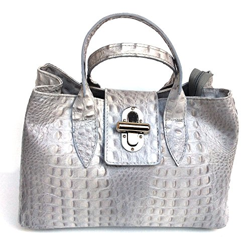 Croco Made in imprimé véritable Milena à cuir en Sac crocodile Gris main Italy model SUPERFLYBAGS cP1qBvx