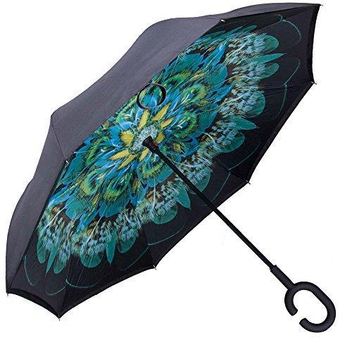Van Gogh Umbrella - WASING Double Layer Inverted Umbrella Cars Reverse Umbrella, Windproof UV Protection Big Straight Umbrella for Car Rain Outdoor With C-Shaped Handle