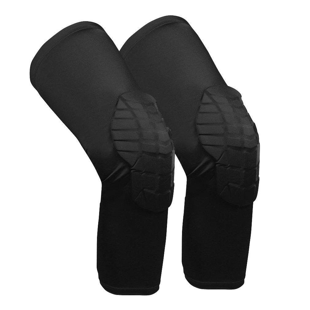 aiyue1ペアバスケットボールHoneycomb膝パッドプロテクター脚膝スリーブ付きパッド入りサポート膝ブレースGuards for Boys Girls大人用 B07BLVBXXZ ブラック1 Medium